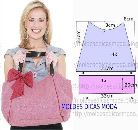 Molde de bolsa em tecido. Este bolsa é muito útil em diversas ocasiões, numa ida à praia, ou mesmo para usar de forma descontraída no dia-a-dia.