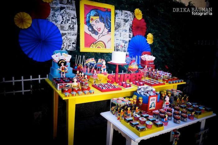 Mejores 727 im genes de decoracion fiestas en pinterest for Decoracion wonder woman