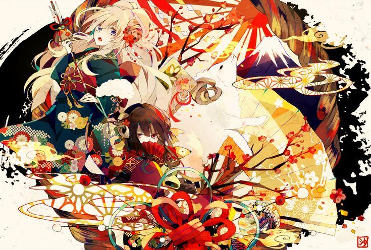 2girls blonde_hair blue_eyes brown_hair headdress japanese_clothes kimono original red_eyes satsuki_(miicat) weapon