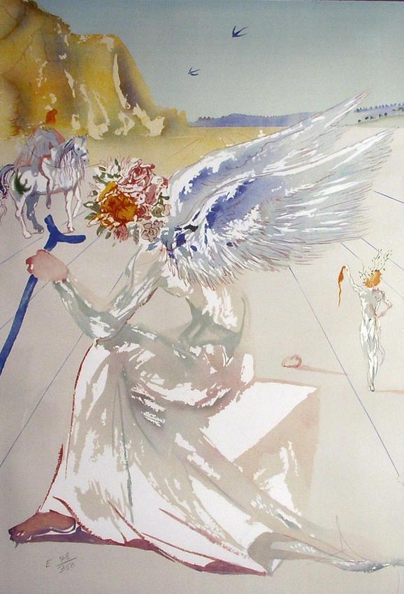 Salvador Dalí - Helena de Troya de la Suite Homage a Homere, 1977. Litografía color.
