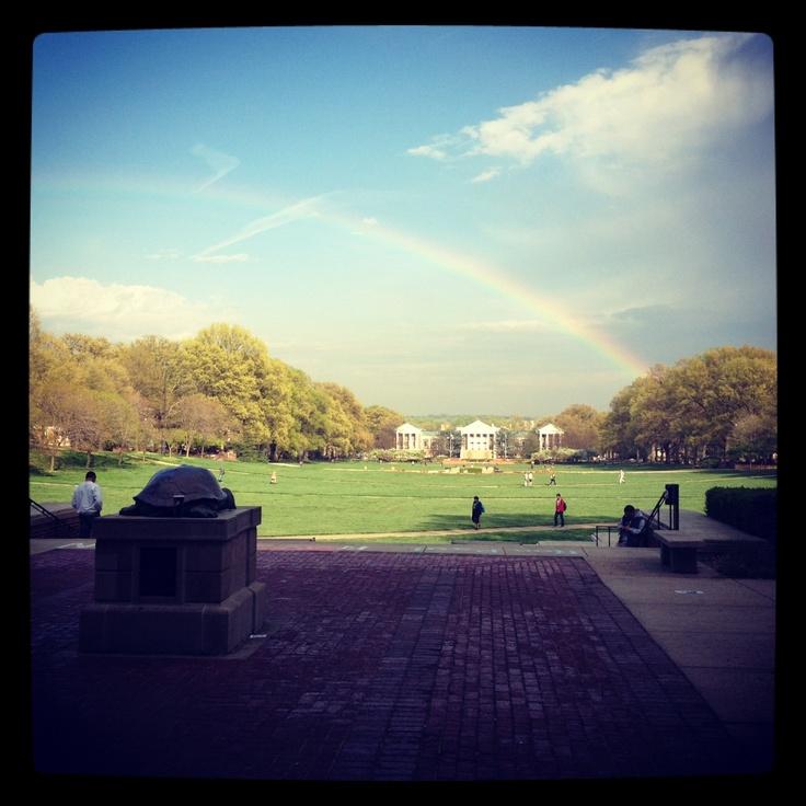 rainbow on mckeldin mall; umd love
