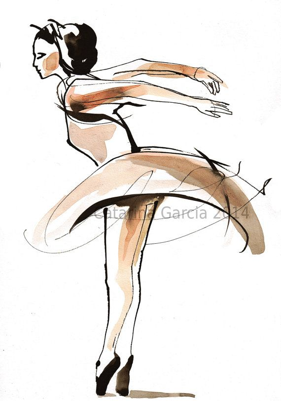Original Watercolor Dance Drawing  Ballet by CatarinaGarciaArtes