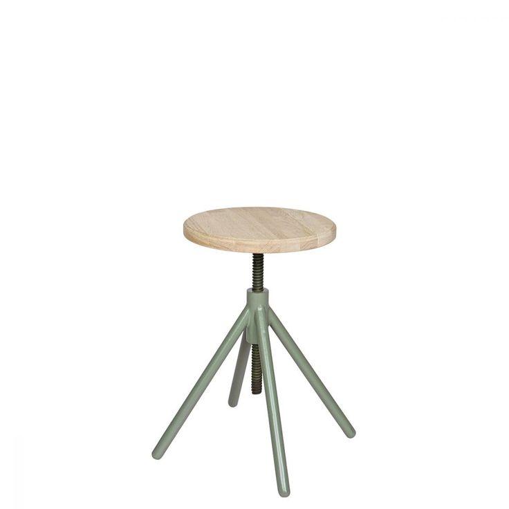 Tabouret à vis métal blanc et bois FSC Lily de Drawer