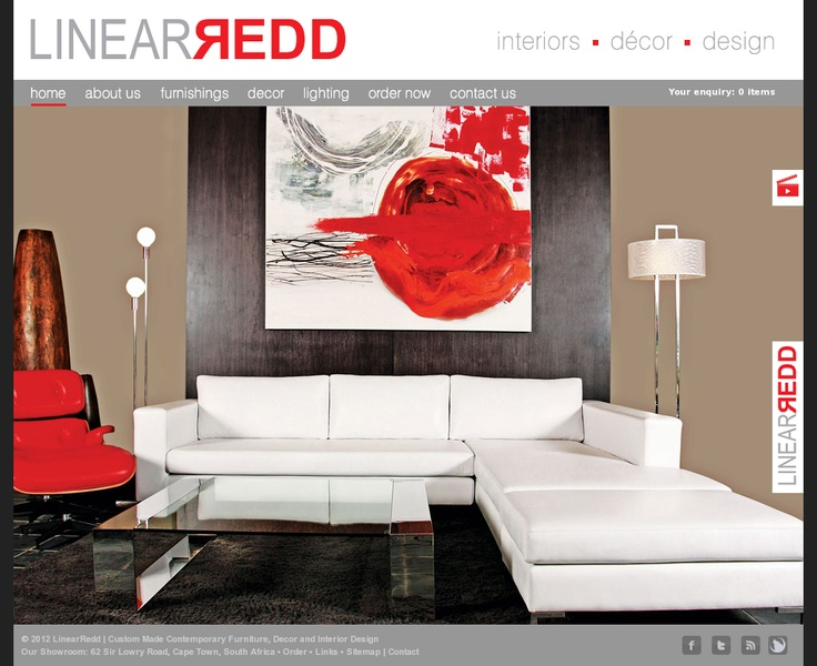 Website design for Linear Redd furniture and decor in Cape Town. http://www.linearredd.com