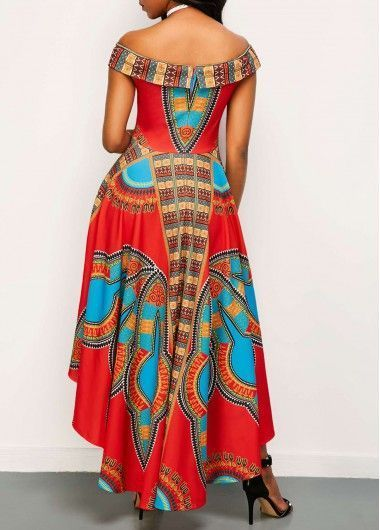 High Waist Off The Shoulder Dashiki Dress Rosewe Usd 30 39