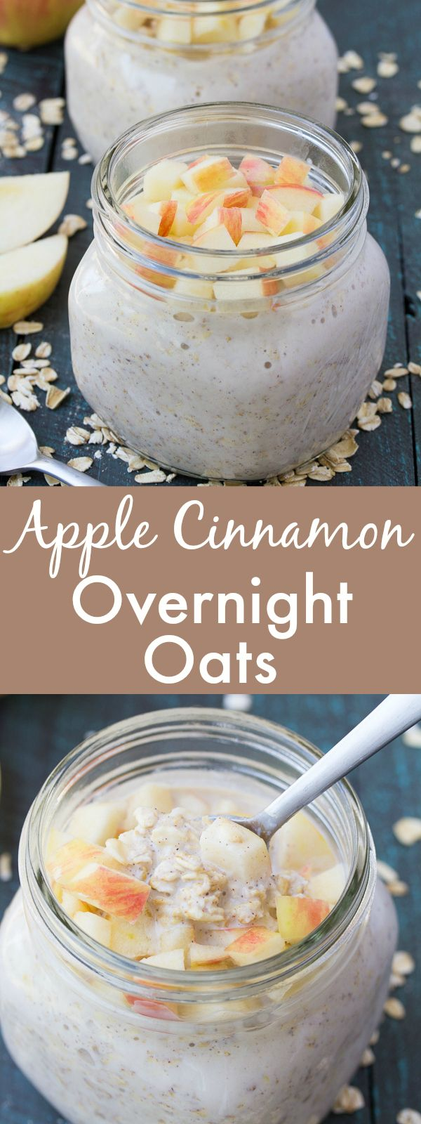 An easy recipe for Apple Cinnamon Overnight Oats. A healthy, make ahead breakfast for busy mornings! | www.kristineskitchenblog.com @bobsredmill #sponsored: