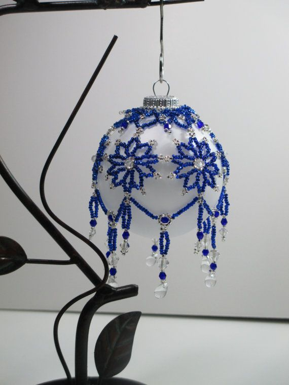 Sapphire Flower Beaded Ornament Cover by OneLoveBeadwork on Etsy, $35.00