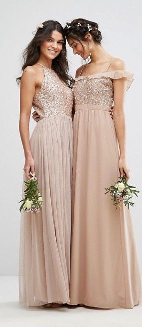 Neutral Bridesmaid Dresses - HIGH NECK MAXI TULLE DRESS WITH TONAL DELICATE SEQUINS