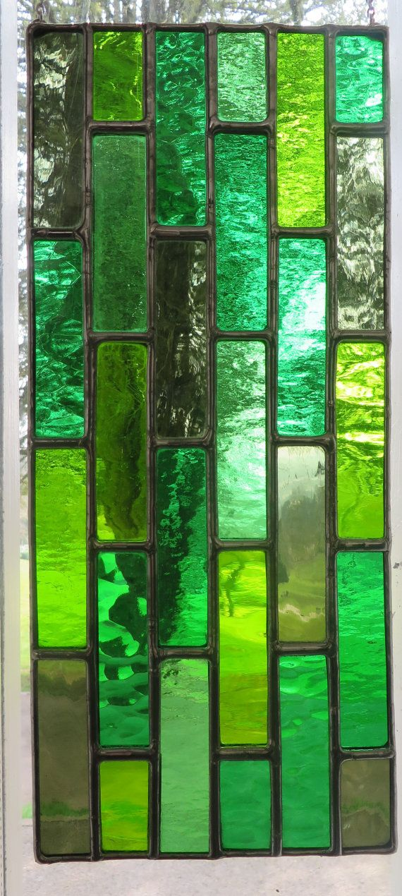 Spring Cascade! Fresh Green Stained Glass Suncatcher - pewtermoonsilver