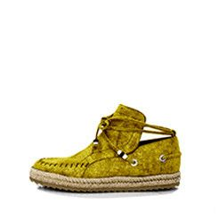 TRIBE MEETS RUNNER 152/01030 Unisexmoccasin loafer Green imprintedsuede Round toe Espadrille sole (fiber & rubber) Bead embellishment If between two sizes
