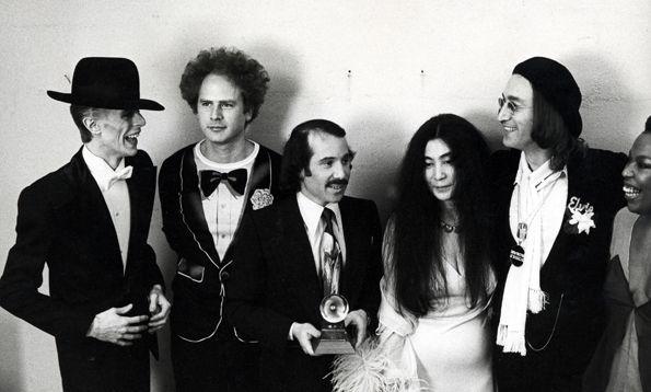 David Bowie Art Garfunkel Paul Simon Yoko Ono John Lennon 1975