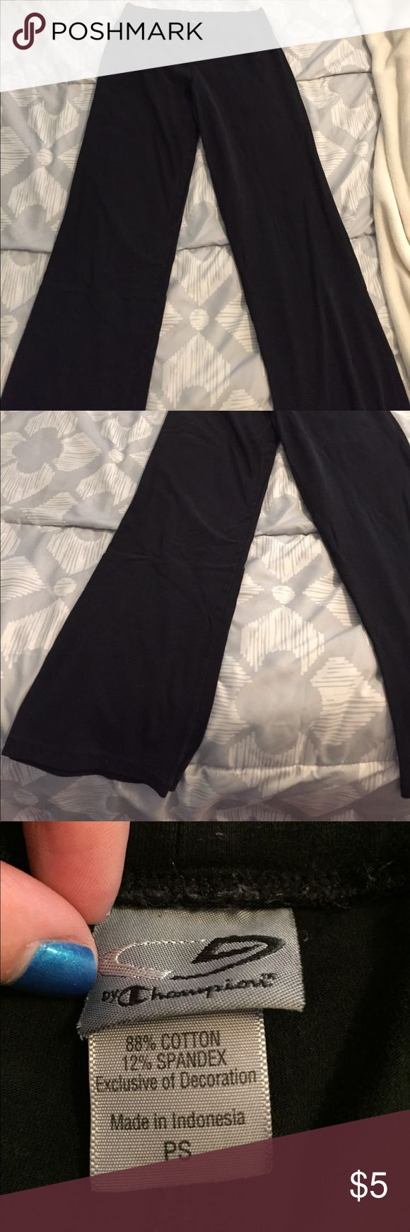 "Champion Yoga Pants This is a pair of black Champion yoga pants. They are flared at the bottom and have a 27"" inseam. They have a double layer band at the waist and are made of 88% cotton and 12% spandex. They are in great condition except they are a little faded. Smoke free home and bundle to save. Champion Pants Track Pants & Joggers"