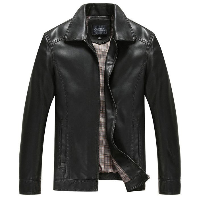 2016-Men Leather Jacket-Casual Jacket/Short Brand Design/Turn-down Collar/Slim Leather Coat - SA boutique Shop