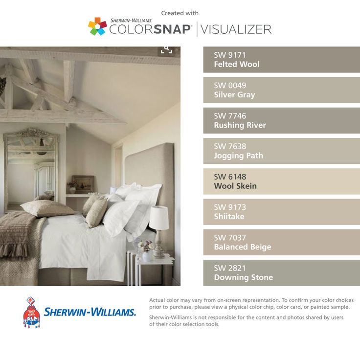 Sherwin-Williams: Felted Wool (SW 9171), Silver Gray (SW 0049), Rushing River (SW 7746), Jogging Path (SW 7638), Wool Skein (SW 6148), Shiitake (SW 9173), Balanced Beige (SW 7037), Downing Stone (SW 2821).