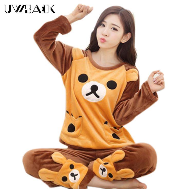 Uwback Pajama Sets Women New Brand Autumn/Winter Warm Pyjamas Women Cartoon/Pink/Christmas Winter Sleepwear  Mujer TB1249