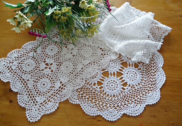 3 Doilies Doily Crocheted Doily White Vintage Doilies  E6 by TreasureCoveAlly on Etsy