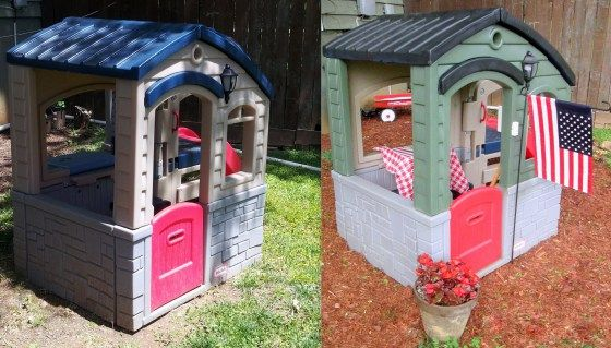 """A DIY Little Tikes Makeover and Sump Pump """"Water Feature"""""""