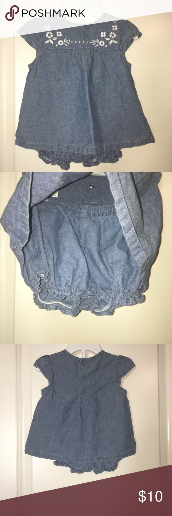 Carter's Chambray Outfit Very cute chambray outfit. Top has white embroidered flowers. Used each piece with so many different outfits. In very good used condition. Smoke free home. Carter's Matching Sets