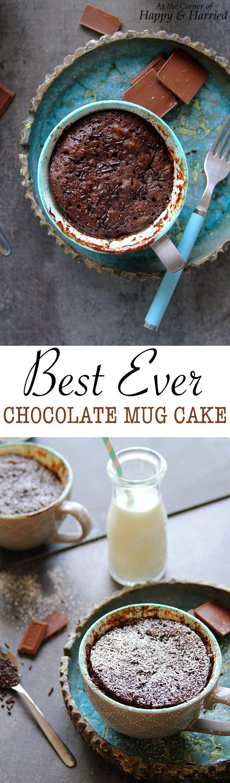 BEST EVER CHOCOLATE MUG CAKE - HAPPY&HARRIED. Satisfy your wicked chocolate cake cravings with the bestest, moistest and easiest one-minute chocolate mug cake ever. #happyandharried #chocolate #mug #cake #recipe #dessert