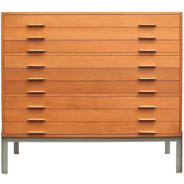 """Professors Flat File by Poul Kjaerholm  Denmark  1960's  A quartersawn pine multi-drawer """"Professors flat file"""" cabinet."""