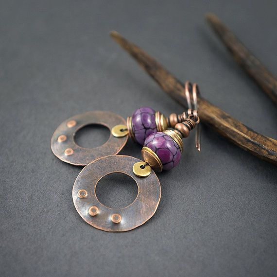artisan Lampwork earrings • hand forged copper disc charms • purple speckled glass bead • artiasn flamework • mixed metal • rustic jewelry