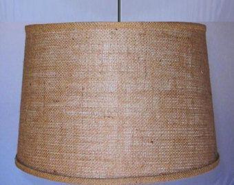 """Rustic Burlap Swag Lamp Pendant Light Hanging Lamp Shade Plug In Lamp 15"""" Wide"""
