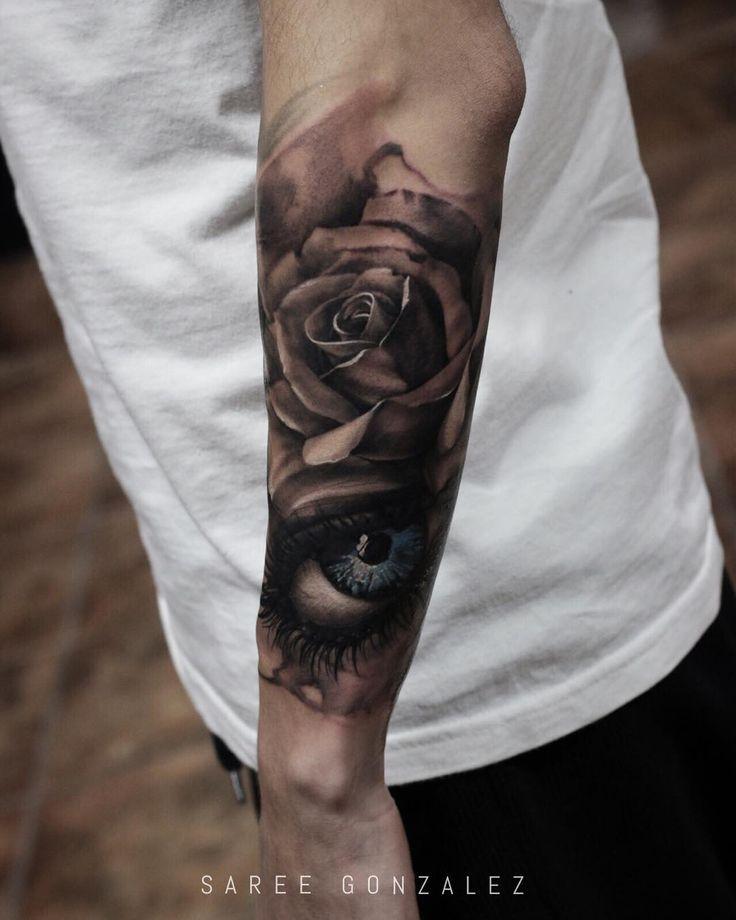 | Today's work | sleeve in progress ... #sareegonzalez #minimal #minimalsg #rose #eye #tattoo #silverbackink #art #tattoos by sareegonzalez