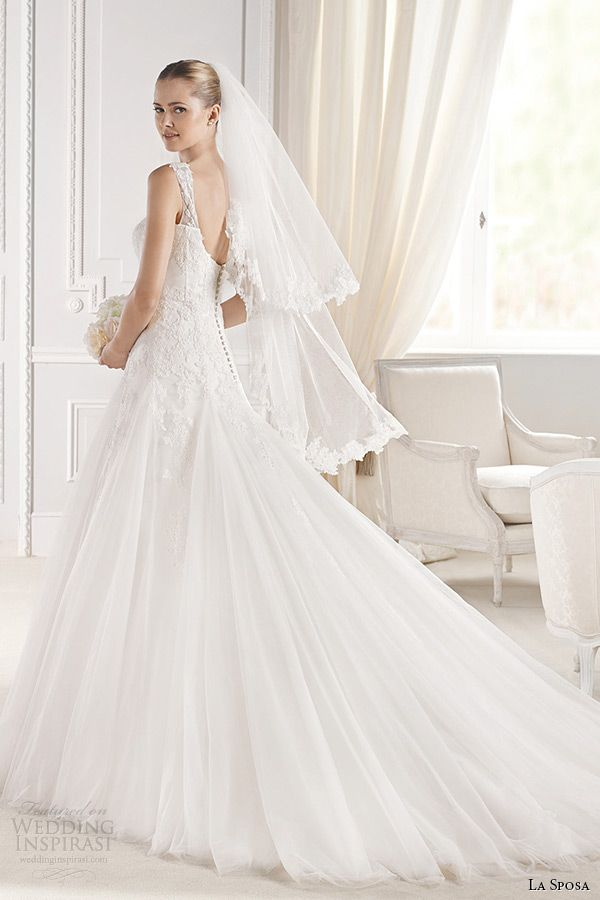 La Sposa 2015 Wedding Dresses | straps sleeveless sweetheart neckling a line chapel train wedding gown elmina