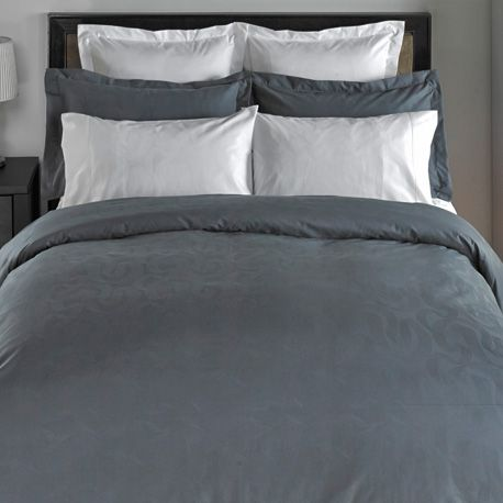 Swirl 300 TC Jacquard by Cuddle Down Canada, available in White and Slate