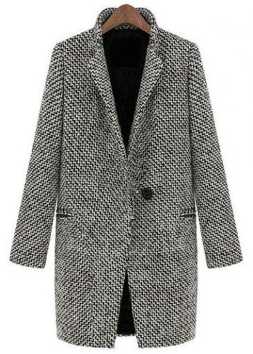 Long Sleeve Turndown Collar Single Breasted Coat