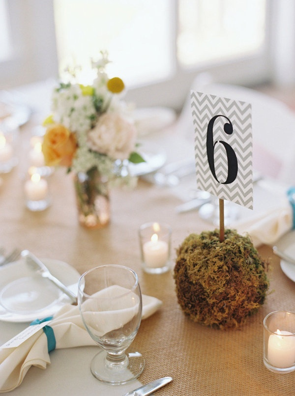 Moss ball table numbers  Photography By / charlottejenkslewis.com, Floral Design By / holidayhouseweddings.com