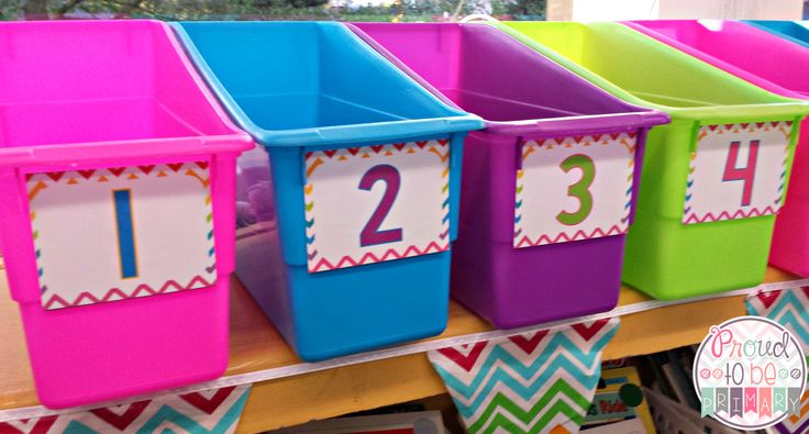FREE rainbow chevron book box labels from Proud to be Primary.