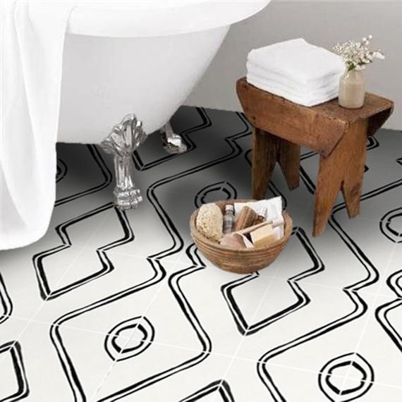 Tile Decals Tiles For Kitchen Bathroom Back Splash Floor Decals Zahara Tile Sticker Pack In Black Flooring Floor Decal Floor Stickers