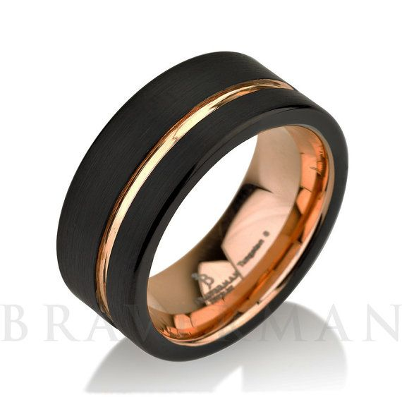 He encontrado este interesante anuncio de Etsy en https://www.etsy.com/es/listing/239316874/black-tungsten-ring-rose-gold-wedding