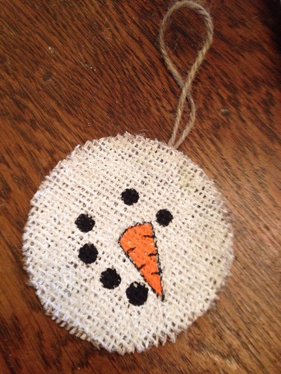 Burlap Snowman Christmas Handmade Ornament by whimsysomethings