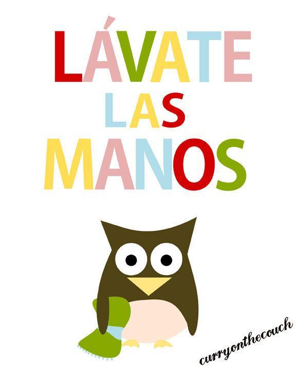 Lavate las manos - owl - colors -spanish - digital print - 8x10 on A4. €12.00, via Etsy.