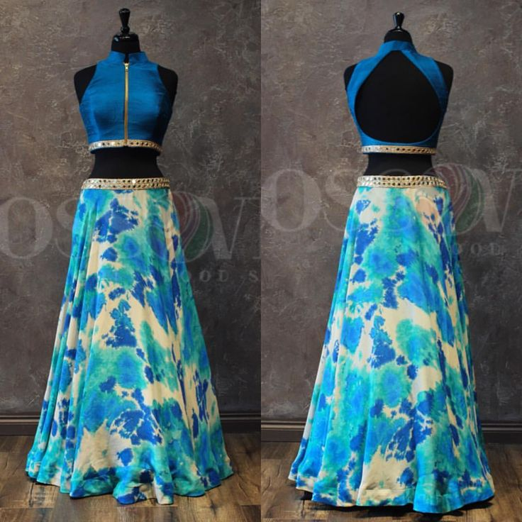 "4,981 Likes, 119 Comments - Crossover Bollywood Se (@crossoverbollywoodse) on Instagram: ""Summer Breeze  This western style lengha comes with a tie-dyed skirt which has shades on blue and…"""