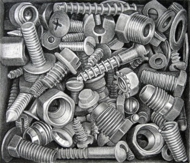 JUSTIN MEYERS - SCREWS BOLTS WASHERS (HARDWARE) STILL LIFE ART