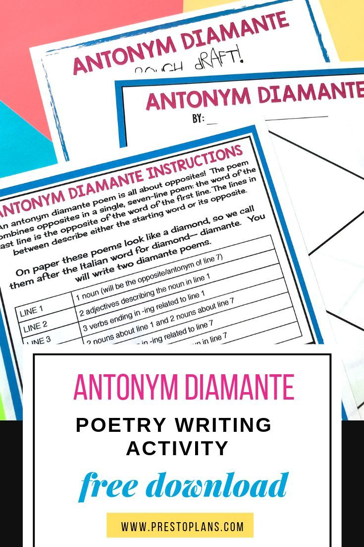 free poetry writing activity antonym diamante middle school junior high teaching tools. Black Bedroom Furniture Sets. Home Design Ideas