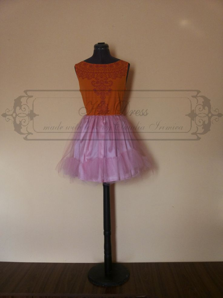 Pink and Orange Candy Dress with Tribal Print by HerDressByClaudia on Etsy