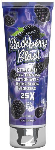 2012 Fiesta Sun BLACKBERRY BLAST 25x Bronzer Tanning Lotion 8 oz. by Fiesta Sun. Save 75 Off!. $7.43. Extended 25X black bronzers instantly darken and maintain your tan for up to seven days. Delicious Blackberry Blast fragrance leaves your senses as if you're on a tropical vacation. Softer skin is supported by the combination of luscious oils. Glowing skin is highlighted by the natural blend of Aloe Vera and vitamins. Blanket yourself in this rich, extremely dark tanning lotio...