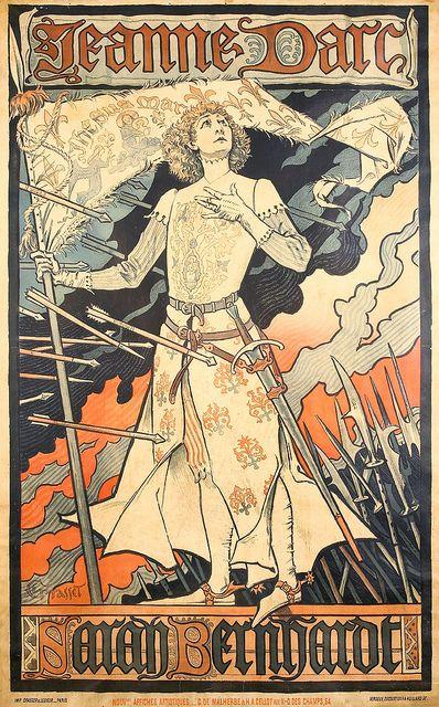 """Eugène Grasset (1845-1917) - Jeanne D'Arc / Sarah Bernhardt. Teatre de la Renaissance Poster of their Play """"Jeanne D'Arc"""" featuring Sarah Bernhardt. Paris, France. Circa 1893. 27-1/2"""" x 45"""".:"""