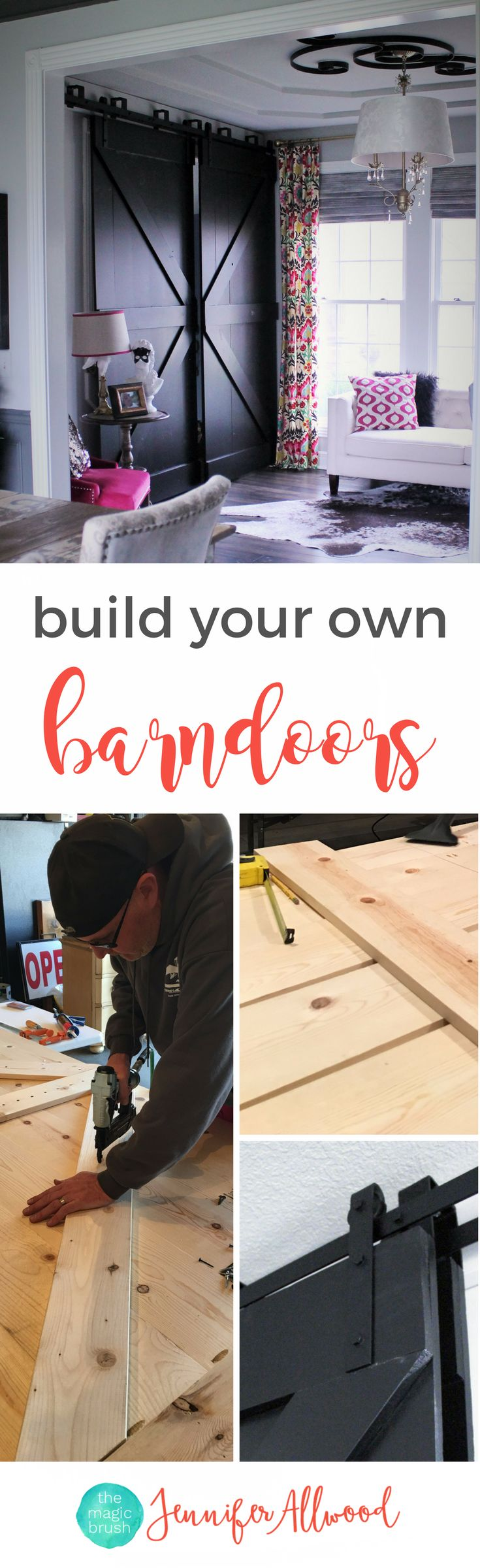 Free Tutorial: build your own black bypass barndoors using whitewood | DIY Farmhouse barndoors | Home Office Idea by themagicbrushinc.com | Black Barndoors and painted barndoors