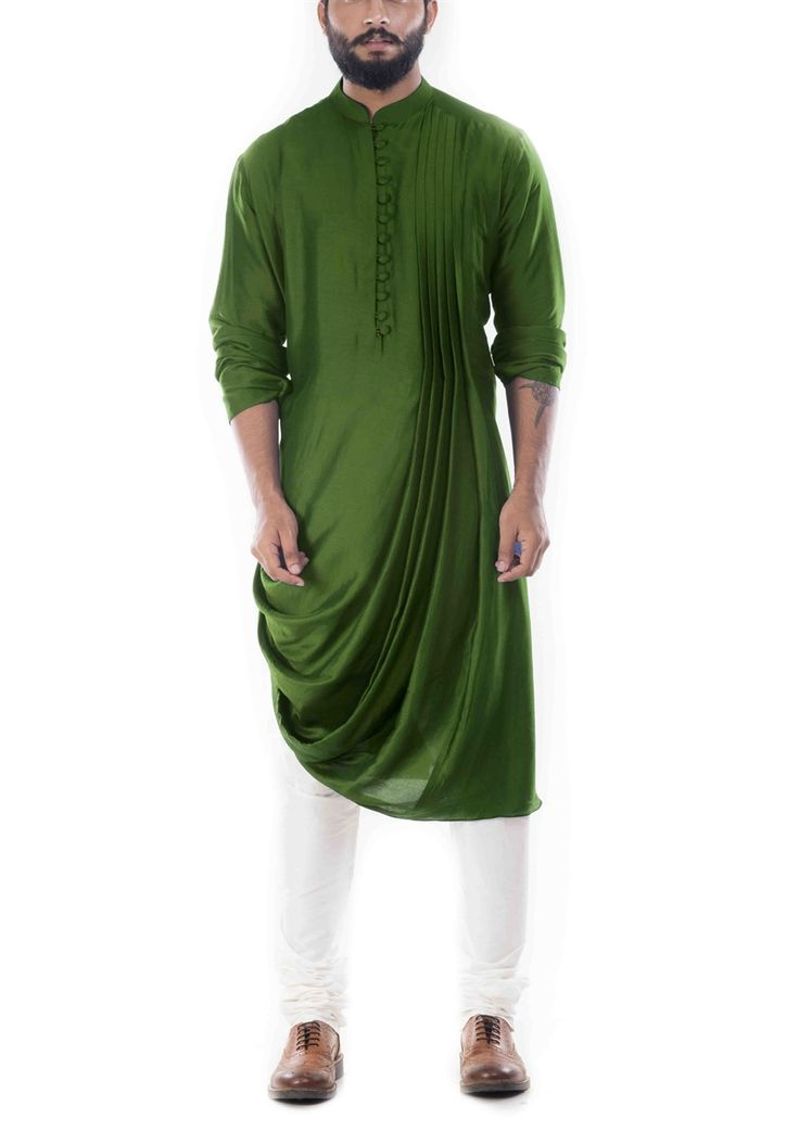 Online Fashion Store  Designer Clothing -Smritiapparels.com. Moss Green Cowl Drape Kurta With Churidar Pants