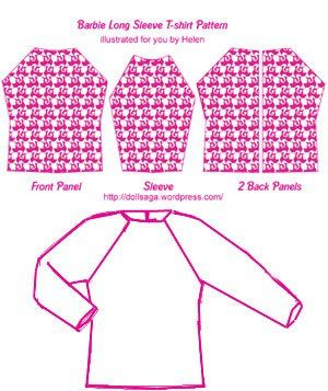 DIY T Shirt Pattern For Barbie