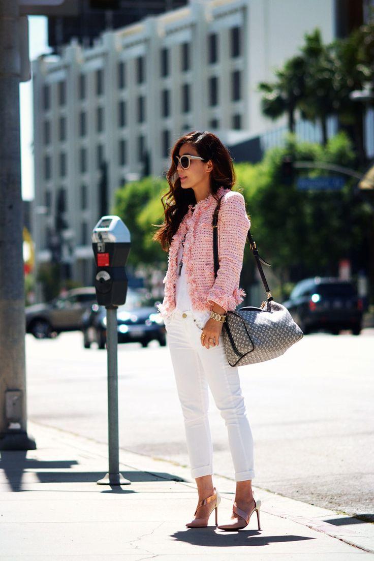 Pink Tweed Jacket n White Skinny Jeans_3