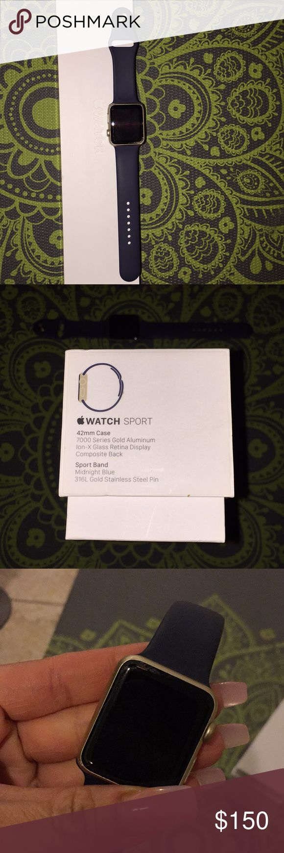 Apple Watch Sport 42MM-Gold Gold Apple Watch For Sale. Small Crack on left side corner, barely noticeable. Box included. APPLE Accessories Watches