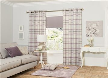 Buy Mauve Woven Check Eyelet Curtains From The Next UK Online Shop