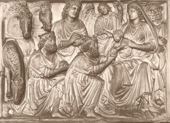 Púlpito baptisterio pisa. Adoración de los reyes. Nicola Pisano