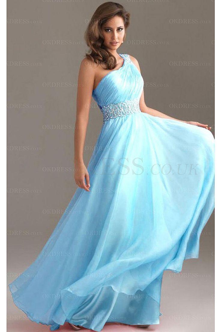 One-shoulder A-line Beading Floor-length Chiffon Prom Dresses - by OKDress UK